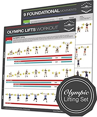 "Olympic Lifts Poster Set of 2 / Chart - Strength & Cardio Training - Core - Chest - Legs - Shoulders - Back - Build Muscle, Tone & Tighten - 18""x24"""
