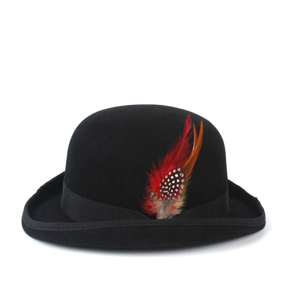Color : Black, Size : 55cm Liyuzhu Mens Woments Black Steampunk Victorian Formal Dome Hat Wool Felt Vintage Magician Fedoras President Bowler Hat