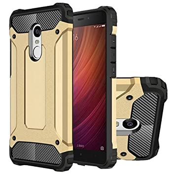 Funda Xiaomi Redmi Note 4 / 4X Carcasa Hibrida AntiPolvo efecto Fibra de Carbono Hybrid Tough Armor Xiaomi Redmi Note 4 / 4X (Dorado)