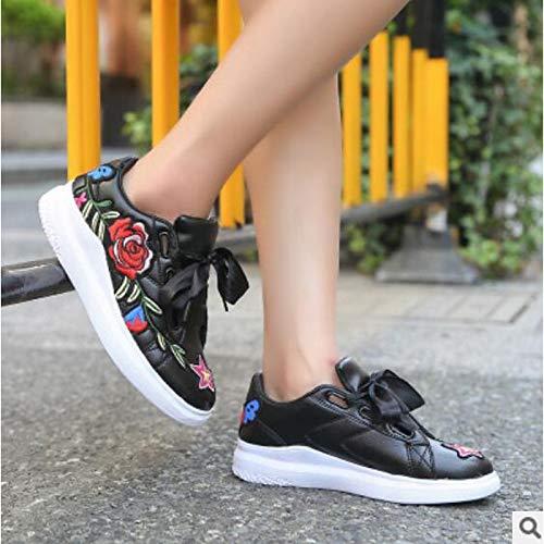 del Heel Negro de Las White Sneakers Shoes Dedo Cerrado Blanco ZHZNVX PU pie del Flat Spring Walking Poliuretano Mujeres Comfort PqgZ5wU