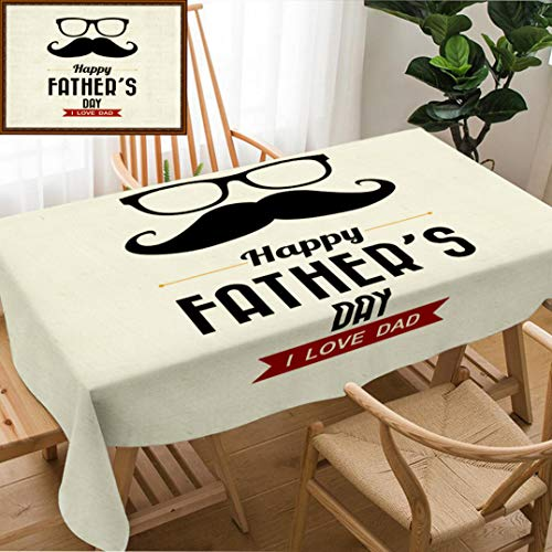 Skocici Unique Custom Design Cotton and Linen Blend Tablecloth Happy Fathers Day Vintage Retro Type Font Illustrator EpsTablecovers for Rectangle Tables, Large Size 86