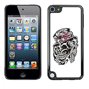 Planetar® ( Rose Top Hat Skull Heath White Black ) Apple iPod Touch 5 Fundas Cover Cubre Hard Case Cover