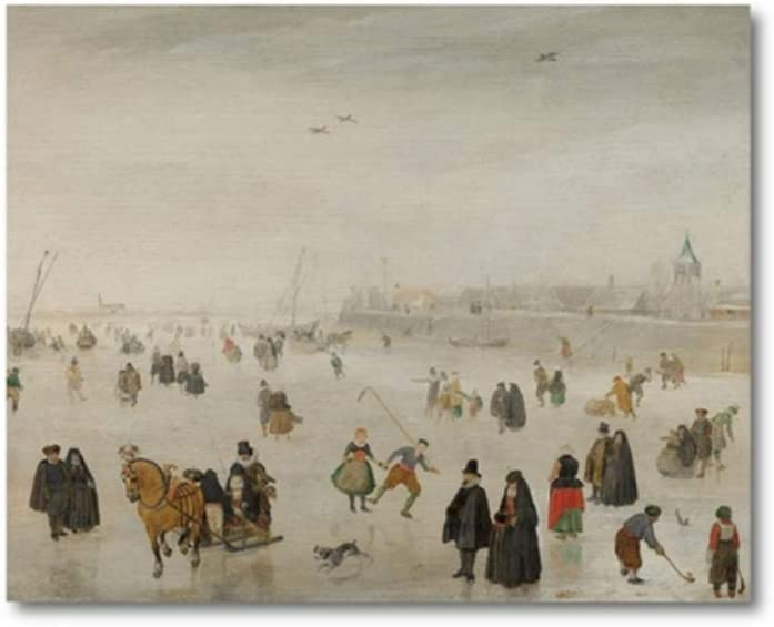 Antiguo paisaje holandés pintura neutral arte impresión invierno temporada cartel Vintage pared arte lienzo cuadro decoración del hogar-50x70 cm sin marco
