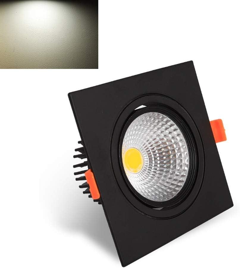 Color : Warm light -3000k-5w Popertr Black Square Single Head Recessed Downlight COB Recessed Ceiling Light for Living Room Corridor Aisle Mall Lighting CRI80 100LM//W Recessed Aluminum Spotlight