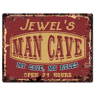 (Jewel'S Man CAVE My CAVE My Rules Tin Chic Sign Vintage Retro Rustic 9