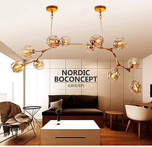 FidgetGear Modern Nordic 11&13&15&17&24&28 Lamp Molecular Irregular Glass Chandelier Light 15 Light Vertical Gold