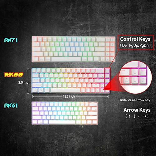 RK ROYAL KLUDGE RK68 (RK855) Wired 65% Mechanical Keyboard, RGB Backlit Ultra-Compact 60% Layout 68 Keys Gaming Keyboard with Red Switch and Stand-Alone Arrow/Control Keys, White