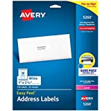 Avery Mailing Address Labels, Laser Printers, 750 Labels, 1 x 2-5/8, Permanent Adhesive, Easy Peel (5260)