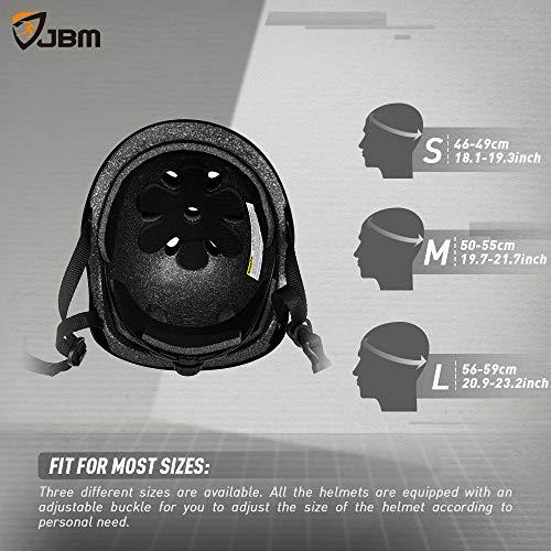 JBM Helmet for Multi-Sports Bike Cycling, Skateboarding, Scooter, BMX Biking, Two Wheel Electric Board and Other Sports [Impact Resistance] (Black, Adult) by JBM international (Image #5)