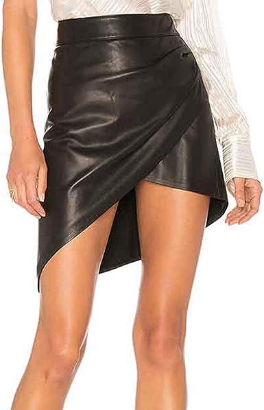 beautyjourney Minifalda de Cuero sintético Bodycon para Mujer ...