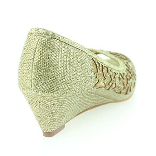 Mujer Señoras Peep Toe Diamante Bajo Tacón de Cuña Noche Fiesta Boda Ponerse Sandalias Zapatos Talla Oro