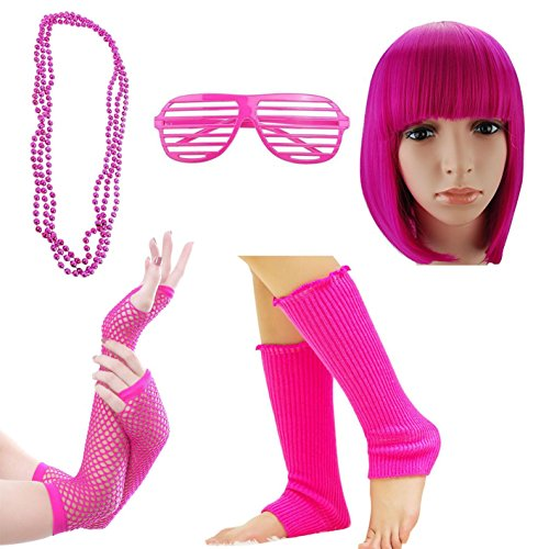 Pretty In Pink Dress Costumes (80s Fancy Outfit 1980s Costume Accessoies for Women (Pink F4))