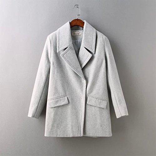 sleeve Woollen Windbreaker Color White Lapel DYF Coat Solid Pocket Long Loose dOqwxXaE