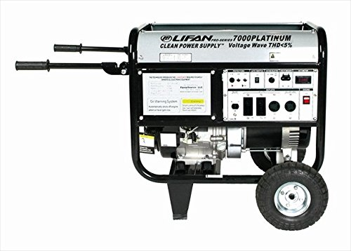 Platinum Series  7000 Watt Comercial/Contractor 13 HP 389cc OHV Gas Powered Portable Generator with Recoil Start and Wheel Kit and Never-Flat Foam Filled Tires - LIFAN LF7000iPL