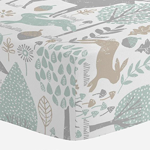 Carousel Designs Gray and Taupe Woodland Animals Crib Sheet - Organic 100% Cotton Fitted Crib Sheet - Made in The USA (Best Baby Products Brand In Usa)