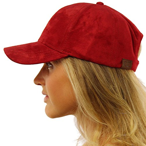 (Everyday Faux Suede 6 Panel Solid Suede Baseball Adjustable Cap Hat Wine)