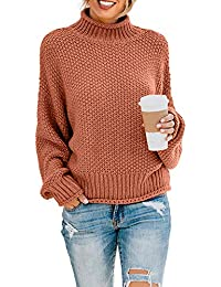 Women's Turtleneck Sweaters Long Batwing Sleeve Oversized Chunky Knitted Pullover Tops