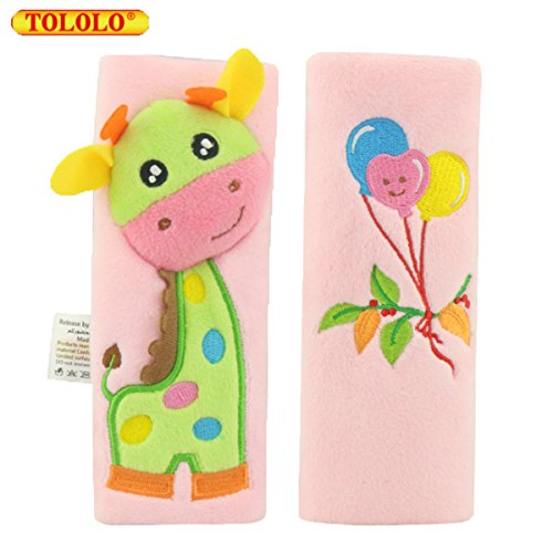 Baby Cute Cartoon Animal Lengthen Seat Belt Pals Car Seat Strap Covers Toddler Shoulder Pads Travel Friends Seat Belt Pals, 1-4 Years (Giraffe Toddler Car Seat Cover)