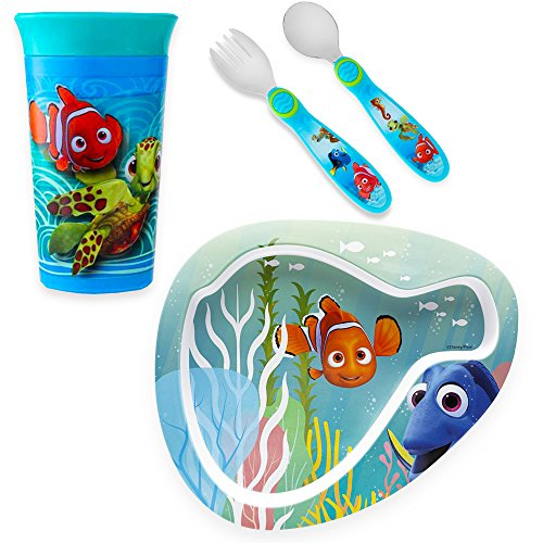 Disney Finding Nemo Toddler Dinnerware Set - Plate, Spoutless Cup and Flatware Featuring Nemo and Dory (Pixar Finding Nemo (Dinner Toy)