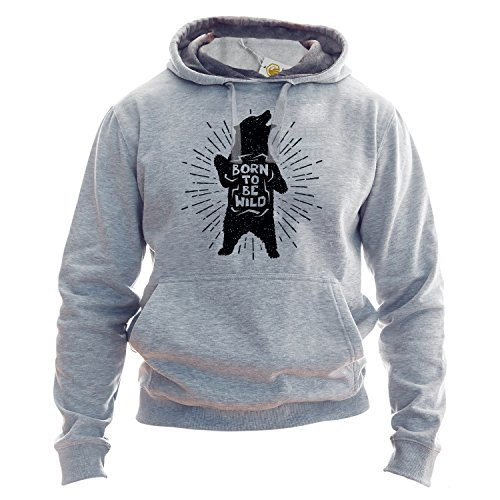 Born To Be Wild Hoodie Cute Nature Camping Sudadera con Capucha Festival Outfit Unisex Style Sudadera Gris