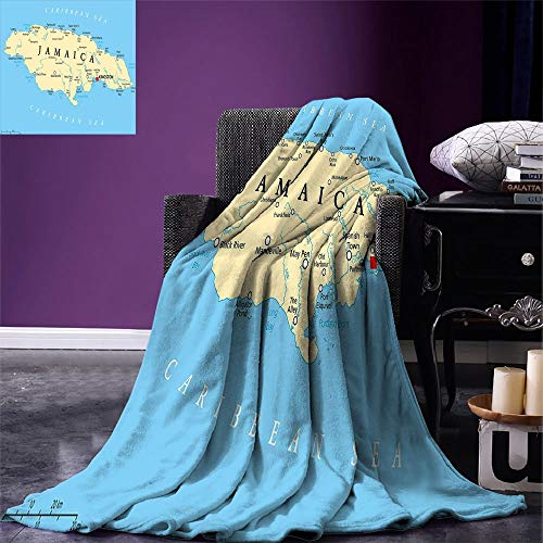 - SINOVAL Jamaican Digital Printing Blanket Map of Jamaica Kingston Caribbean Sea Important Locations in Country Summer Quilt Comforter Pale Blue Beige Black