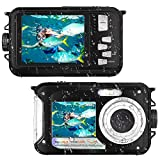 Waterproof Camera Full HD 1080P for Snorkeling 24.0 MP Underwater Camera 2.7 Inch TFT-LCD Dual Screen Waterproof Digital Camera (Black)