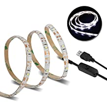 USB LED Strip Night Light, Minger 4.9FT/1.5M Flexible Rope Lights with Switch Control for Bedroom, Closet, TV, Monitor Backlight (Cold White)