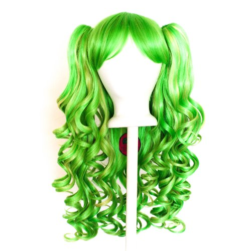 [Meiko - Lime Green and Golden Blonde Mixed Blend Wig 20'' Gothic Lolita Set] (Lime Green Wigs)