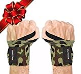 """Rip Toned Wrist Wraps 18"""" Professional Grade with Thumb Loops - Wrist Support Braces for Men & Women - Weight Lifting, Crossfit, Powerlifting, Strength Training - Bonus Ebook (Green Camo Stiff)"""