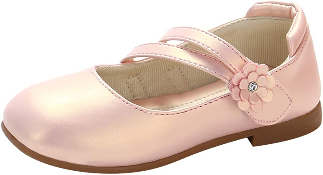 New girl/'s kids closure mary jane wedding casual flower girl pink bow