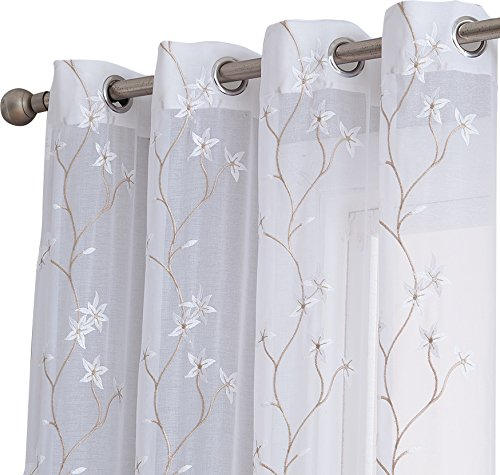 Cheap HLC.ME Emma Floral Embroidered Semi Sheer Voile Window Curtain Drapery Grommet Top Panels for Bedroom & Living Room (54″ W x 96″ L, White/Taupe)