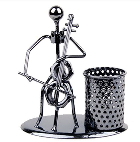 Creative Office Desktop Accessories Musical Instruments Metal Pen Pencil Holder Craft Art Model (Cello) (Cello Fountain Pen)