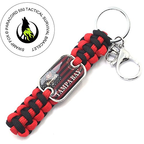 Swamp Fox Tampa Bay Buccaneers American Team Flag Survival Paracord Keychain ()