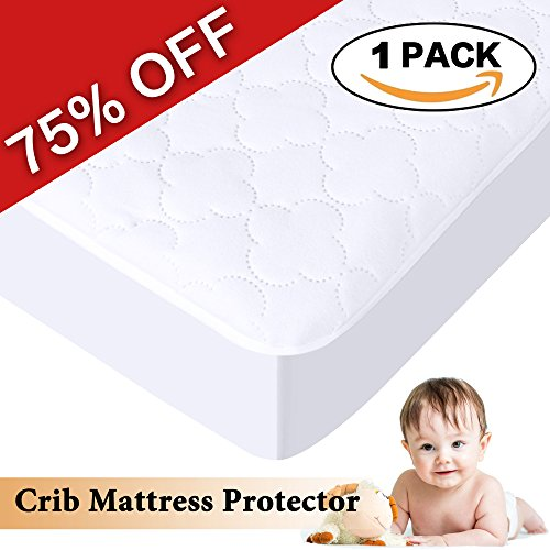 H.Versailtex Crib & Toddler Waterproof Mattress Protector Pad, Premium Hypoallergenic Fitted Cover with Extra Padding, 52' x 28', 1 panel