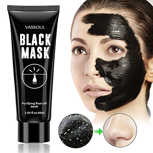 Create Your Own Active Charcoal Skin Purifying Face Mask: Vassoul Blackhead Remover Black Mask, Purifying Peel-off