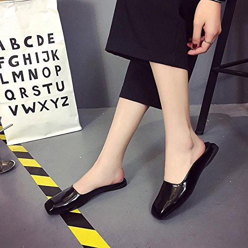 LvYuan Deslizadores del verano de las mujeres / manera ocasional de la comodidad / cabeza cuadrada / talón plano / sandalias / zapatos perezosos de los deslizadores de la media Black