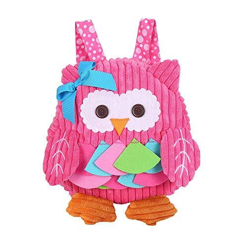 (willway Toddler Backpack, Plush Animal Cartoon Mini Snack Travel Bag Preschool Bags for Girls 1-5 years (Pink Owl))