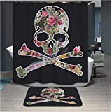 Eco-Friendly polyerster Shower curtains, Skeleton flower Skull Flower, size Width X Height / 72 x 72 inches / W * H 180 by 180 cm Modern design, best fit for relatives