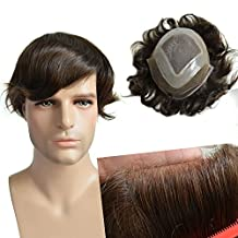 AIRAO Toupee Hairpiece Replacement Men Wigs Mono Swiss Lace and PU - Indian Human Virgin Hair Extension Free Tangle #4(Dark Brown)