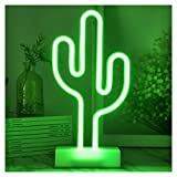 YiiY Cactus LED Neon Light,  Indoor Figurine Lamps with Timer / Batteries Powered for Nursery, Bedroom (Cactus-Green)