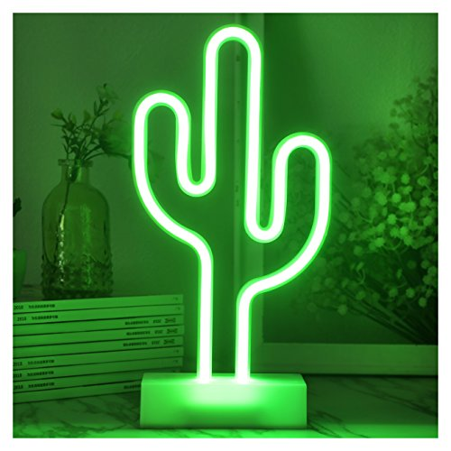 YiiY Cactus LED Neon Light,  Indoor Figurine Lamps with Timer / Batteries Powered for Nursery, Bedroom (Cactus-Green) Neon Lamp Light