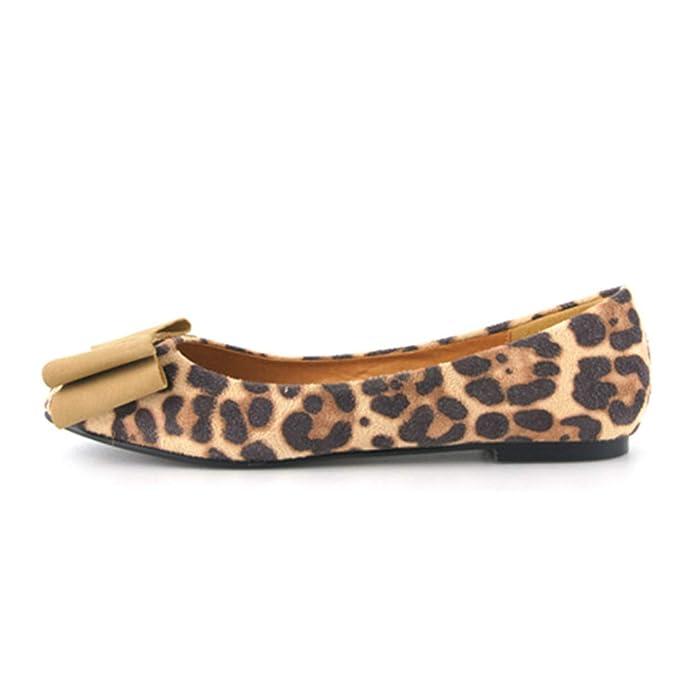 Mujer Zapatillas de Ballet Zapatillas de Leopardo Otoño Mariposa Nudo Slip-on Suede Punta Redonda Damas Mocasines Planos Zapatos: Amazon.es: Zapatos y ...