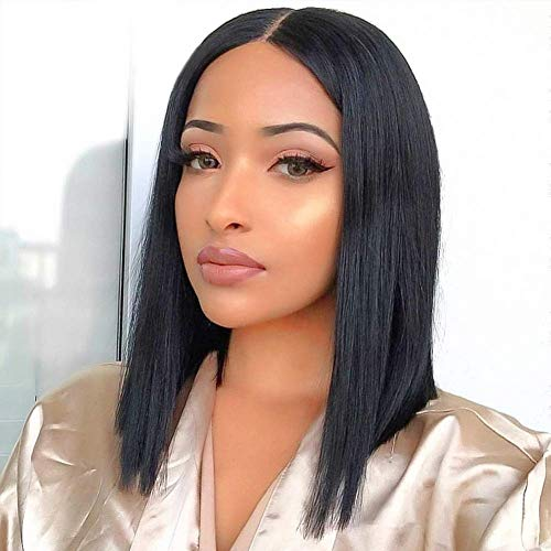 """12"""" Straight Lace Front Wigs Middle Part Short Bob Wigs For Women Brazilian Human Hair Wigs Natural Black Color (12"""")"""