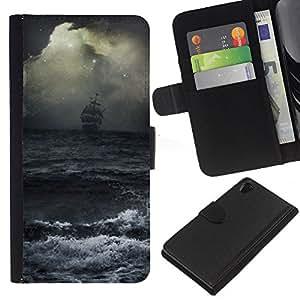 For Sony Xperia Z2 D6502 Case , Ocean Waves Storm Sail Ship Pirates - la tarjeta de Crédito Slots PU Funda de cuero Monedero caso cubierta de piel