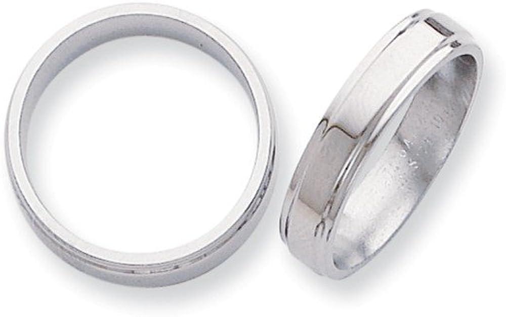 Wedding Bands Classic Bands Flat Bands w//Edge Titanium Ridged Edge 5mm Polished Band Size 11.5