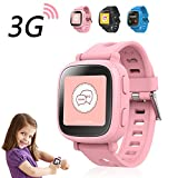 Oaxis Kids GPS Watch Tracker - Smart SIM Watches 3G Phone for Children Touch Screen Smartwatch Fitness Tracker Band for Girls Boys Anti-lost SOS Finder Geo Fencing - Pink