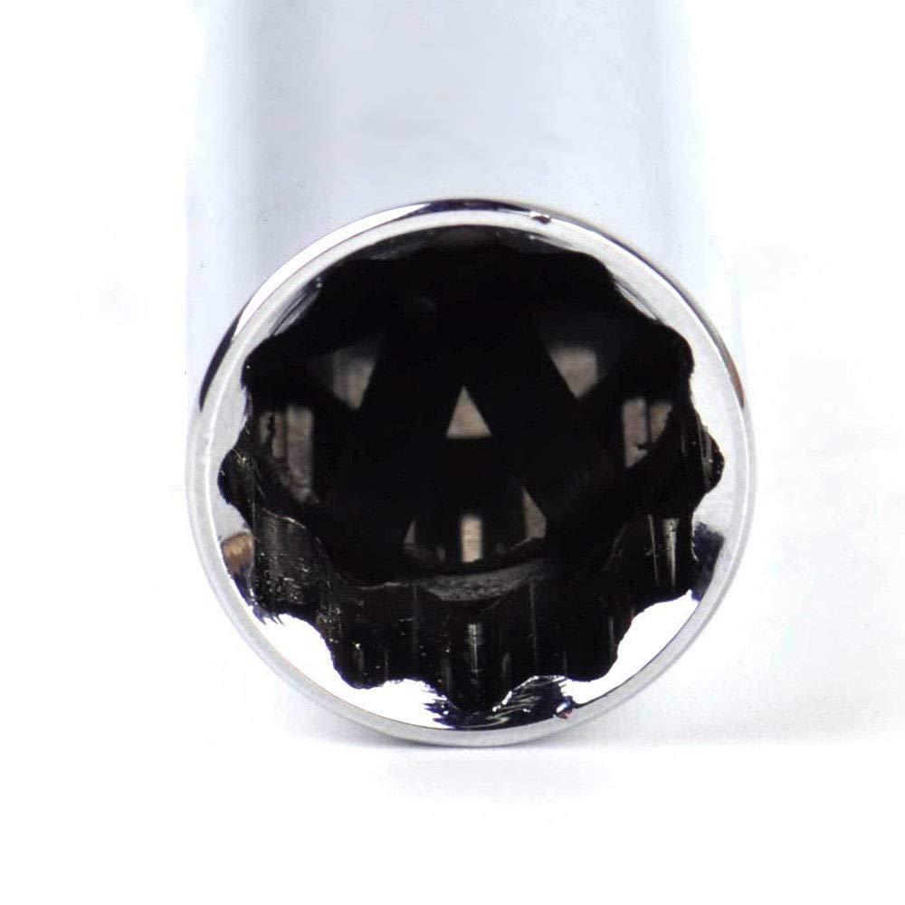 Enchufe de buj/ía de pared delgada de 14 mm Enchufes de 3//8 pulgadas Unidad de buj/ía de 12 puntos
