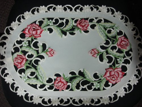 4pcs-13x19-Embroidered-Table-Runner-Tableclothes-Cutwork-Design-Spring-Rose-