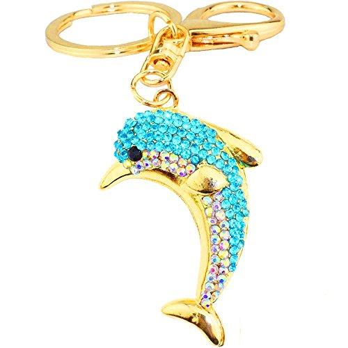 JewelBeauty Cute Dolphin Sparkling Charm Blingbling Keychain Crystal Rhinestone Pendant (Blue)
