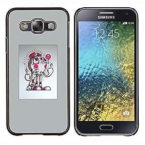 KLONGSHOP // Cubierta de piel con cierre a presión Shell trasero duro de goma Protección Caso - Resumen del tirón - Samsung Galaxy E5 E500 //